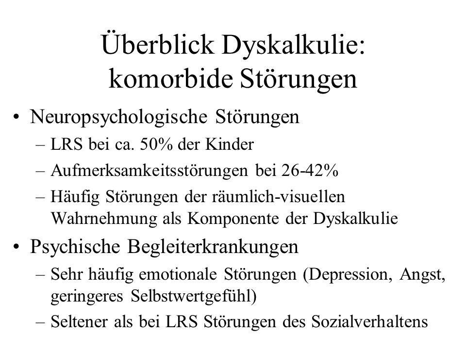 Überblick Dyskalkulie: komorbide Störungen Neuropsychologische Störungen –LRS bei ca. 50% der Kinder –Aufmerksamkeitsstörungen bei 26-42% –Häufig Stör
