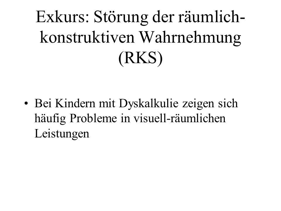 Exkurs: Störung der räumlich- konstruktiven Wahrnehmung (RKS) Bei Kindern mit Dyskalkulie zeigen sich häufig Probleme in visuell-räumlichen Leistungen