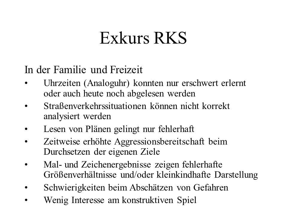 Exkurs RKS In der Familie und Freizeit Uhrzeiten (Analoguhr) konnten nur erschwert erlernt oder auch heute noch abgelesen werden Straßenverkehrssituat