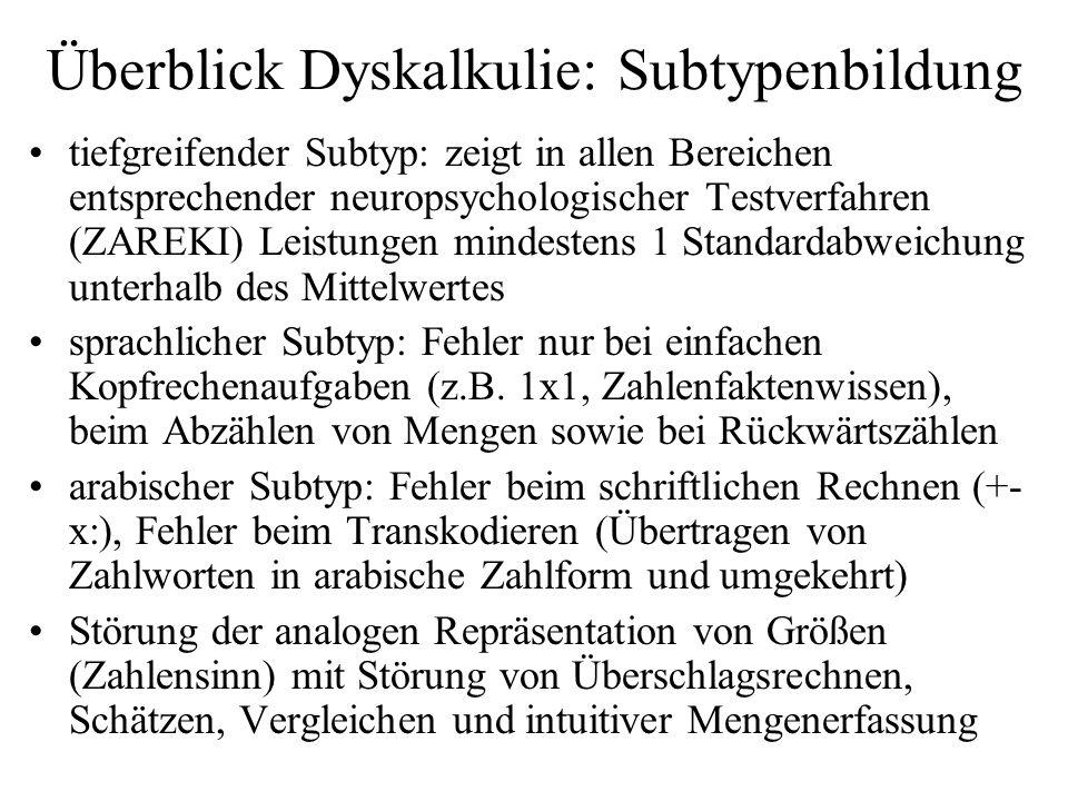 Überblick Dyskalkulie: Subtypenbildung tiefgreifender Subtyp: zeigt in allen Bereichen entsprechender neuropsychologischer Testverfahren (ZAREKI) Leis