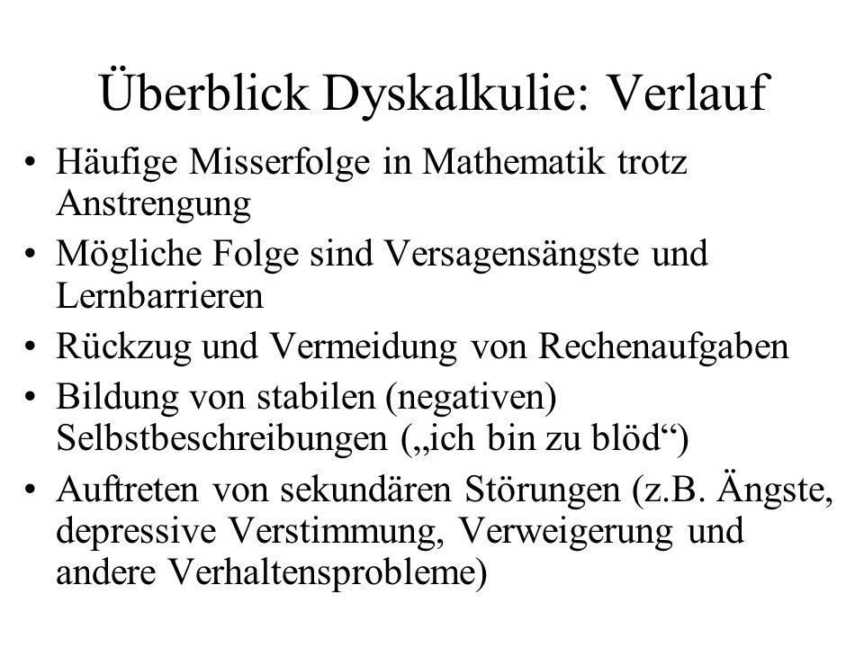 Überblick Dyskalkulie: Verlauf Häufige Misserfolge in Mathematik trotz Anstrengung Mögliche Folge sind Versagensängste und Lernbarrieren Rückzug und V