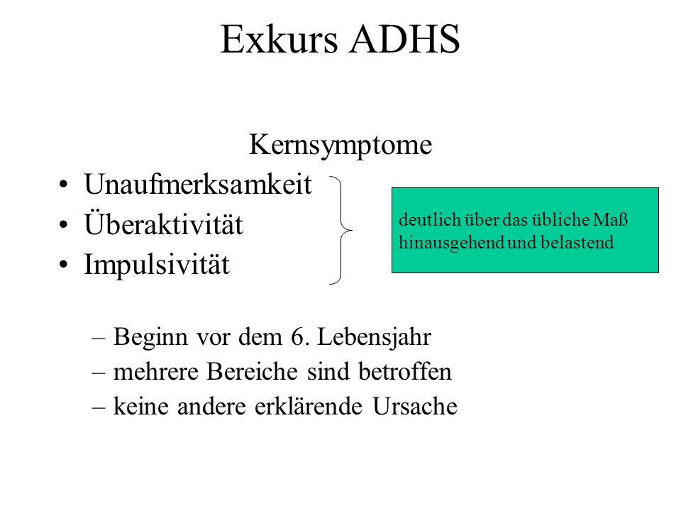 Exkurs ADHS Kernsymptome Unaufmerksamkeit Überaktivität Impulsivität –Beginn vor dem 6. Lebensjahr –mehrere Bereiche sind betroffen –keine andere erkl
