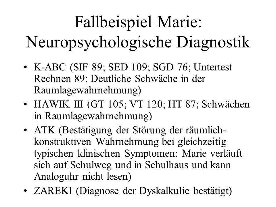 Fallbeispiel Marie: Neuropsychologische Diagnostik K-ABC (SIF 89; SED 109; SGD 76; Untertest Rechnen 89; Deutliche Schwäche in der Raumlagewahrnehmung