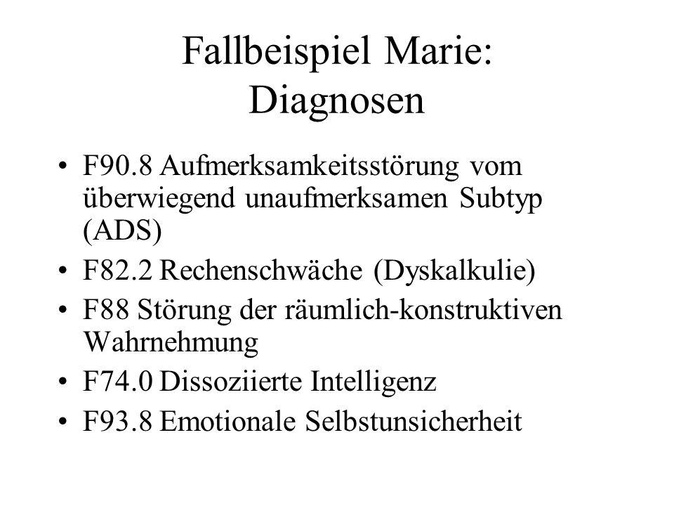 Fallbeispiel Marie: Diagnosen F90.8 Aufmerksamkeitsstörung vom überwiegend unaufmerksamen Subtyp (ADS) F82.2 Rechenschwäche (Dyskalkulie) F88 Störung
