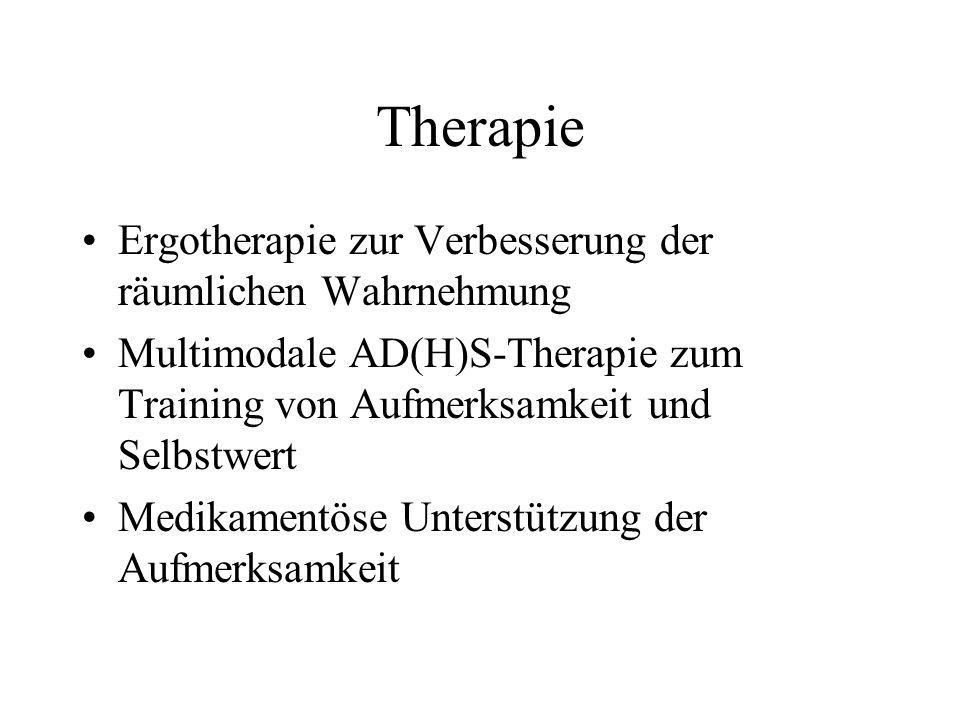 Therapie Ergotherapie zur Verbesserung der räumlichen Wahrnehmung Multimodale AD(H)S-Therapie zum Training von Aufmerksamkeit und Selbstwert Medikamen