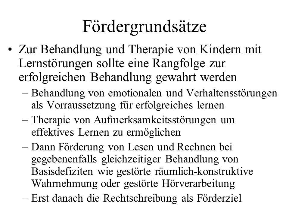 Fördergrundsätze Zur Behandlung und Therapie von Kindern mit Lernstörungen sollte eine Rangfolge zur erfolgreichen Behandlung gewahrt werden –Behandlu