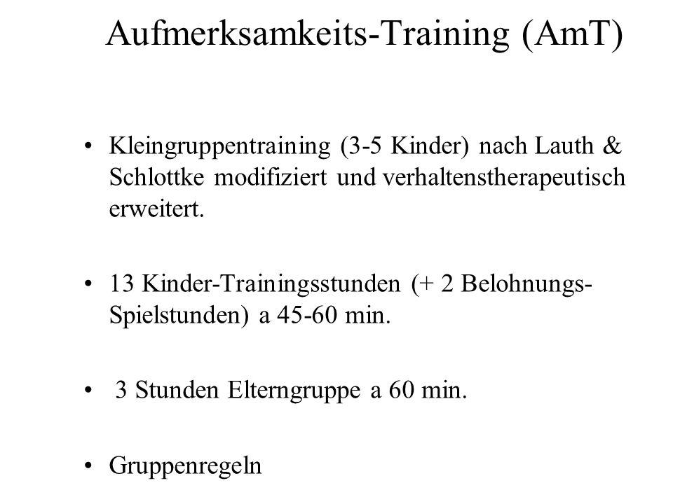 Aufmerksamkeits-Training (AmT) Kleingruppentraining (3-5 Kinder) nach Lauth & Schlottke modifiziert und verhaltenstherapeutisch erweitert. 13 Kinder-T