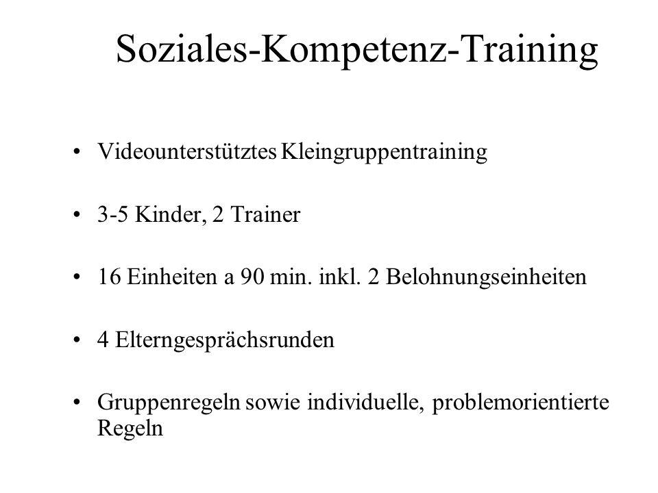 Soziales-Kompetenz-Training Videounterstütztes Kleingruppentraining 3-5 Kinder, 2 Trainer 16 Einheiten a 90 min. inkl. 2 Belohnungseinheiten 4 Elterng
