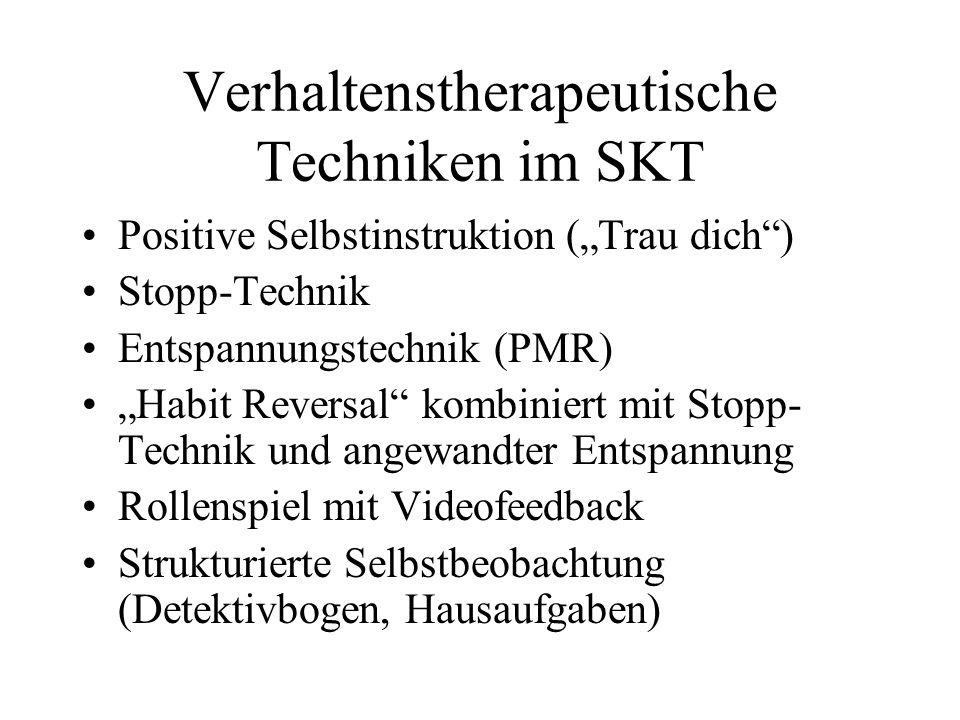 Verhaltenstherapeutische Techniken im SKT Positive Selbstinstruktion (Trau dich) Stopp-Technik Entspannungstechnik (PMR) Habit Reversal kombiniert mit