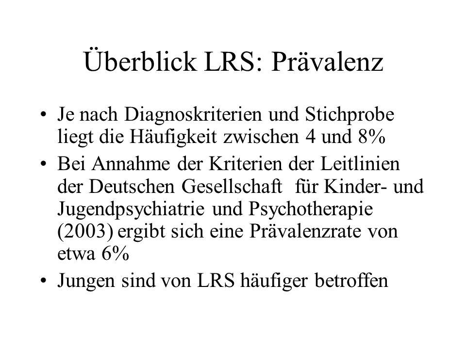 Überblick LRS: Prävalenz Je nach Diagnoskriterien und Stichprobe liegt die Häufigkeit zwischen 4 und 8% Bei Annahme der Kriterien der Leitlinien der D