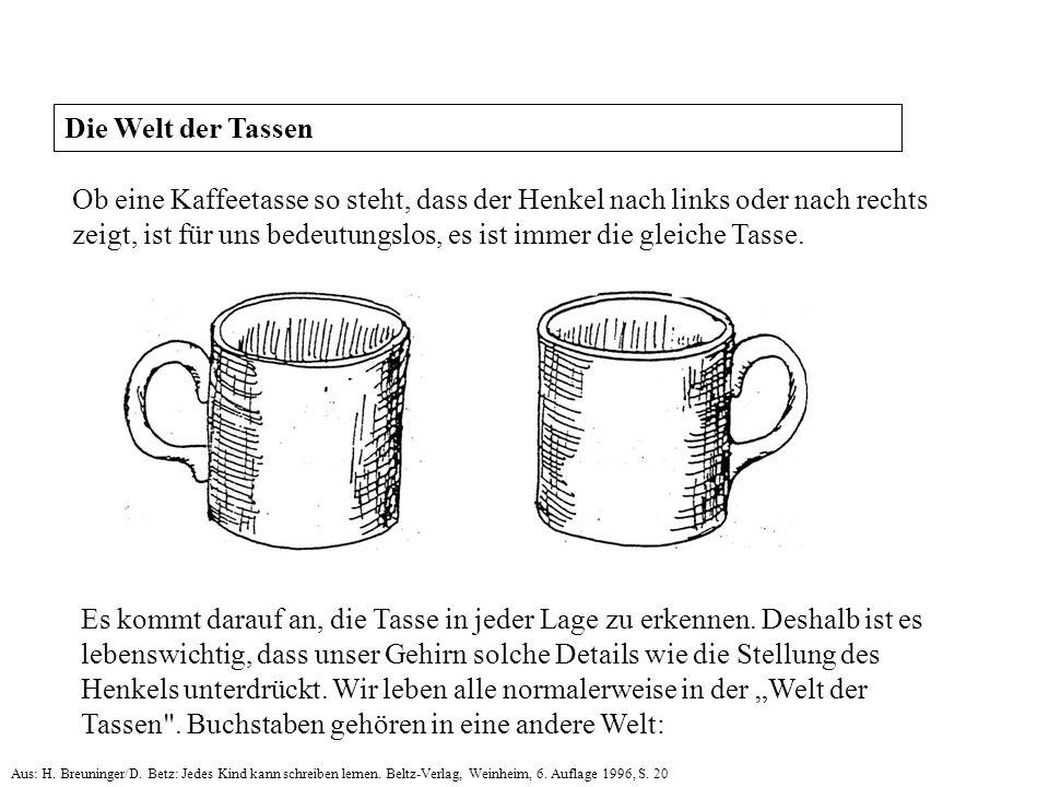 Ob eine Kaffeetasse so steht, dass der Henkel nach links oder nach rechts zeigt, ist für uns bedeutungslos, es ist immer die gleiche Tasse. Es kommt d