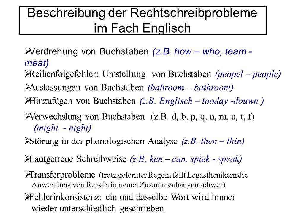Beschreibung der Rechtschreibprobleme im Fach Englisch Verdrehung von Buchstaben (z.B. how – who, team - meat) Reihenfolgefehler: Umstellung von Buchs