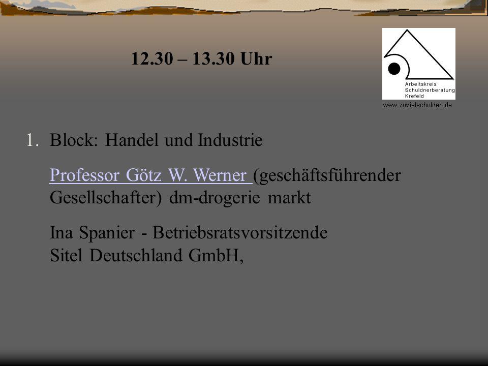 1.Block: Handel und Industrie Professor Götz W. Werner Professor Götz W. Werner (geschäftsführender Gesellschafter) dm-drogerie markt Ina Spanier - Be