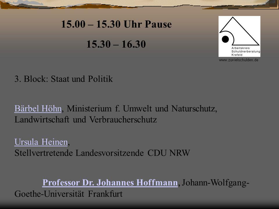 15.00 – 15.30 Uhr Pause 15.30 – 16.30 3. Block: Staat und Politik Bärbel HöhnBärbel Höhn, Ministerium f. Umwelt und Naturschutz, Landwirtschaft und Ve