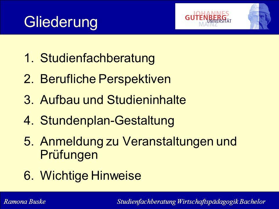 Gliederung 1.Studienfachberatung 2.Berufliche Perspektiven 3.Aufbau und Studieninhalte 4.Stundenplan-Gestaltung 5.Anmeldung zu Veranstaltungen und Prü