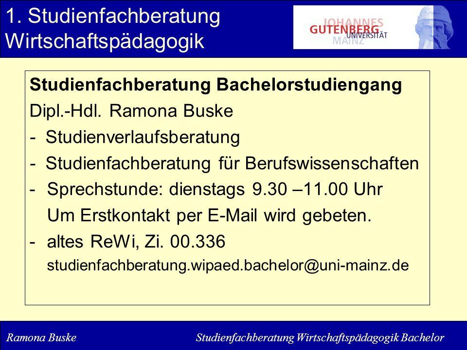 Studienfachberatung Bachelorstudiengang Dipl.-Hdl. Ramona Buske - Studienverlaufsberatung - Studienfachberatung für Berufswissenschaften -Sprechstunde