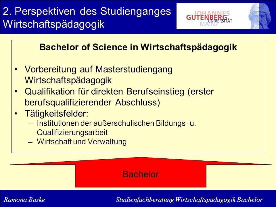 2. Perspektiven des Studienganges Wirtschaftspädagogik Bachelor of Science in Wirtschaftspädagogik Vorbereitung auf Masterstudiengang Wirtschaftspädag