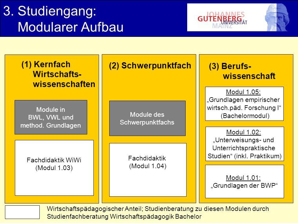 3. Studiengang: Modularer Aufbau (1) Kernfach Wirtschafts- wissenschaften (2) Schwerpunktfach (3) Berufs- wissenschaft Module in BWL, VWL und method.