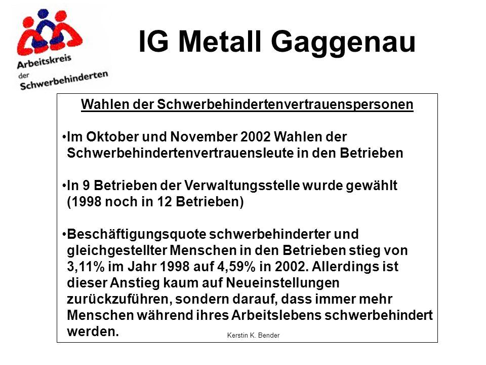 Kerstin K. Bender IG Metall Gaggenau Wahlen der Schwerbehindertenvertrauenspersonen Im Oktober und November 2002 Wahlen der Schwerbehindertenvertrauen