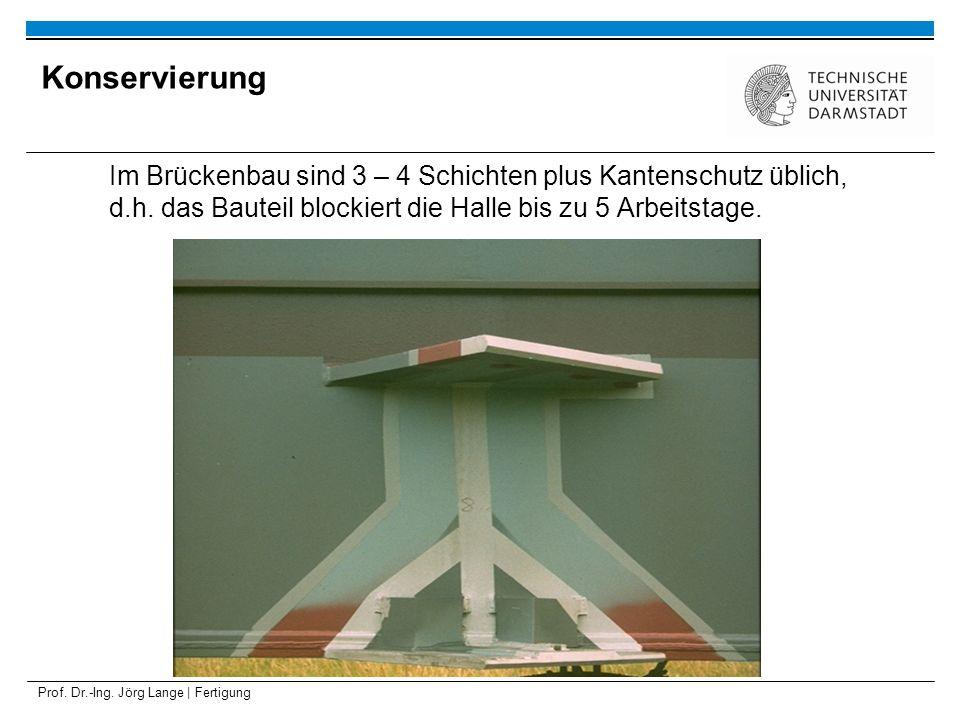 Prof. Dr.-Ing. Jörg Lange | Fertigung Im Brückenbau sind 3 – 4 Schichten plus Kantenschutz üblich, d.h. das Bauteil blockiert die Halle bis zu 5 Arbei