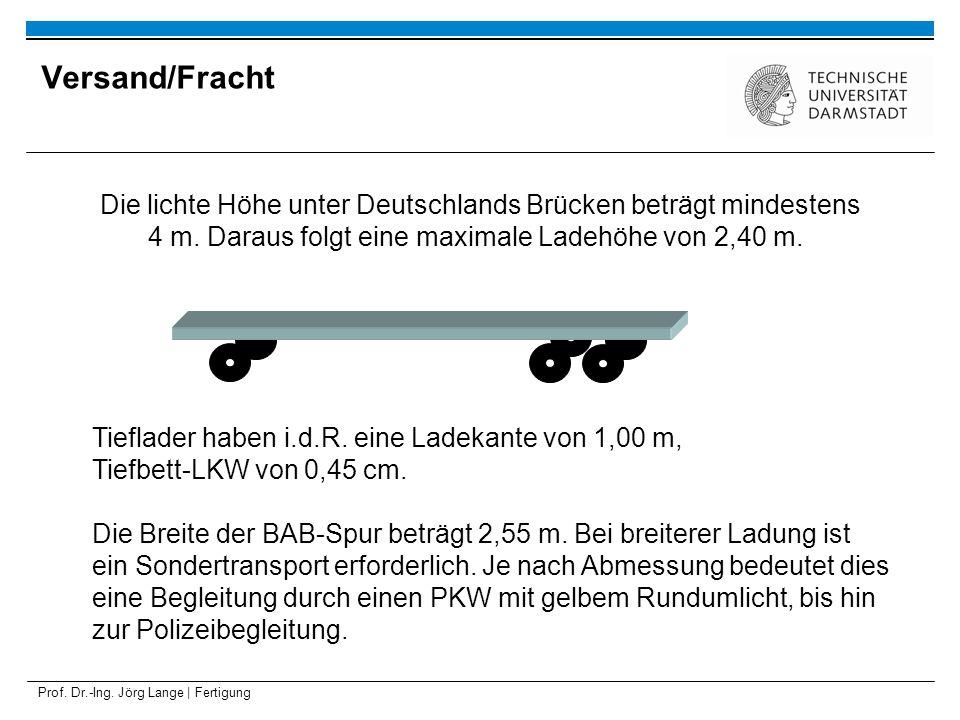Prof. Dr.-Ing. Jörg Lange | Fertigung Die lichte Höhe unter Deutschlands Brücken beträgt mindestens 4 m. Daraus folgt eine maximale Ladehöhe von 2,40