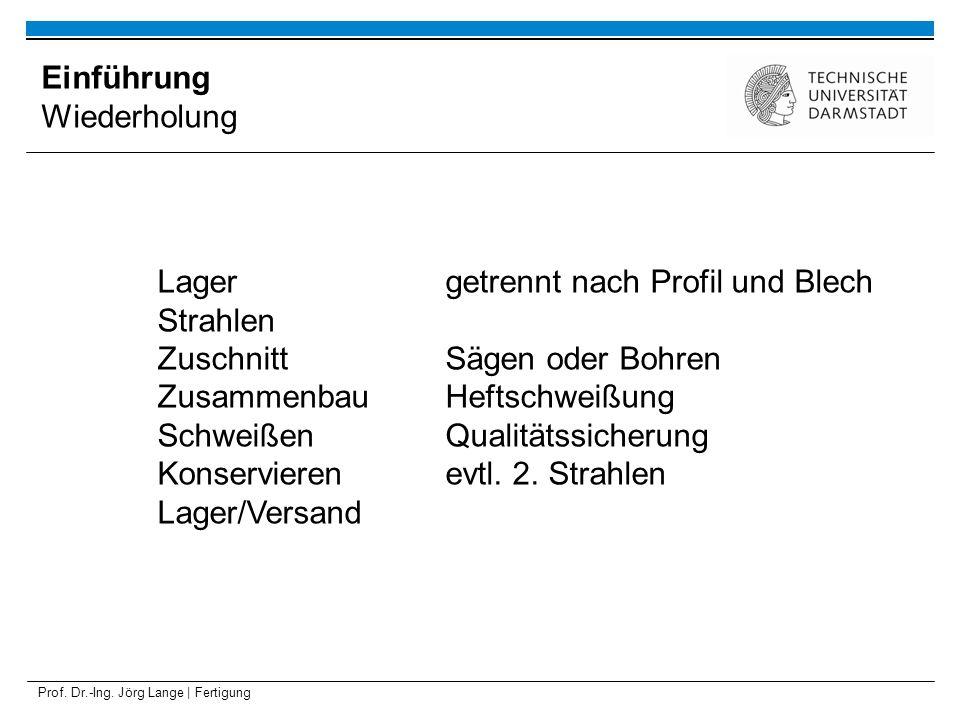 Prof. Dr.-Ing. Jörg Lange | Fertigung Einführung Wiederholung Lagergetrennt nach Profil und Blech Strahlen ZuschnittSägen oder Bohren ZusammenbauHefts