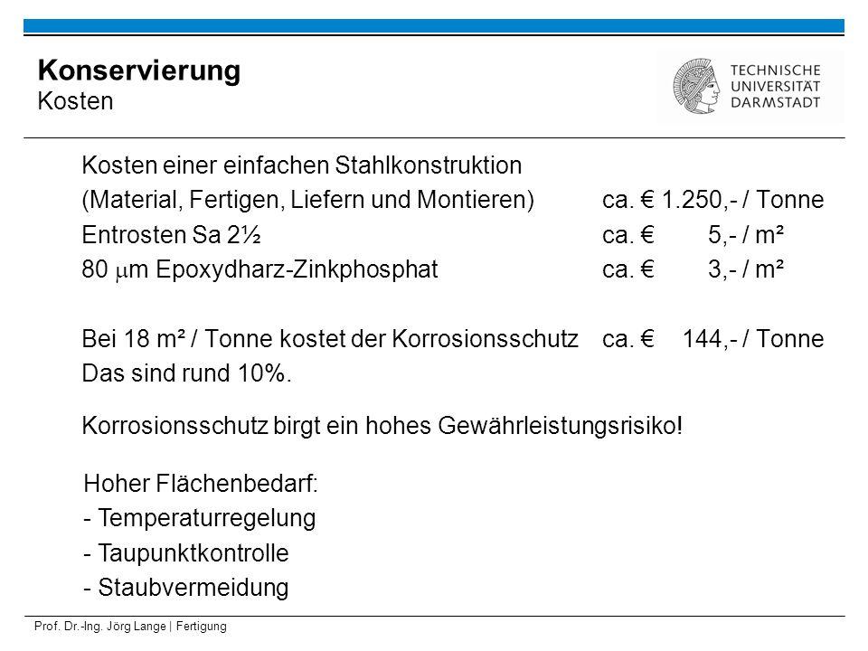 Prof. Dr.-Ing. Jörg Lange | Fertigung Kosten einer einfachen Stahlkonstruktion (Material, Fertigen, Liefern und Montieren)ca. 1.250,- / Tonne Entroste