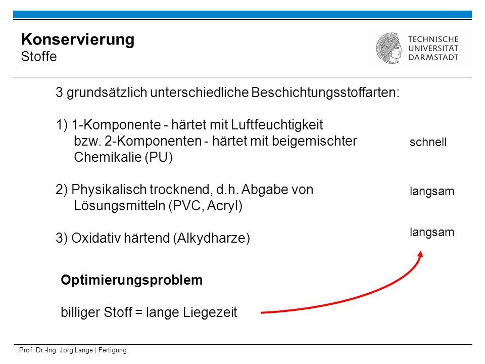 Prof. Dr.-Ing. Jörg Lange | Fertigung 3 grundsätzlich unterschiedliche Beschichtungsstoffarten: 1) 1-Komponente - härtet mit Luftfeuchtigkeit bzw. 2-K