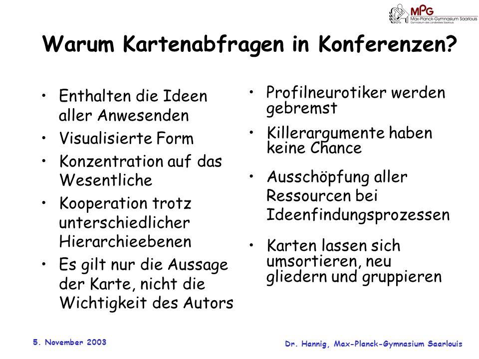 5. November 2003 Dr. Hannig, Max-Planck-Gymnasium Saarlouis Warum Kartenabfragen in Konferenzen? Enthalten die Ideen aller Anwesenden Visualisierte Fo