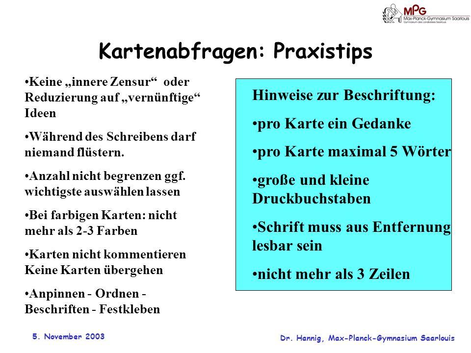 5. November 2003 Dr. Hannig, Max-Planck-Gymnasium Saarlouis Kartenabfragen: Praxistips Keine innere Zensur oder Reduzierung auf vernünftige Ideen Währ