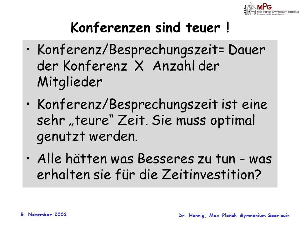 5. November 2003 Dr. Hannig, Max-Planck-Gymnasium Saarlouis Konferenzen sind teuer ! Konferenz/Besprechungszeit= Dauer der Konferenz X Anzahl der Mitg