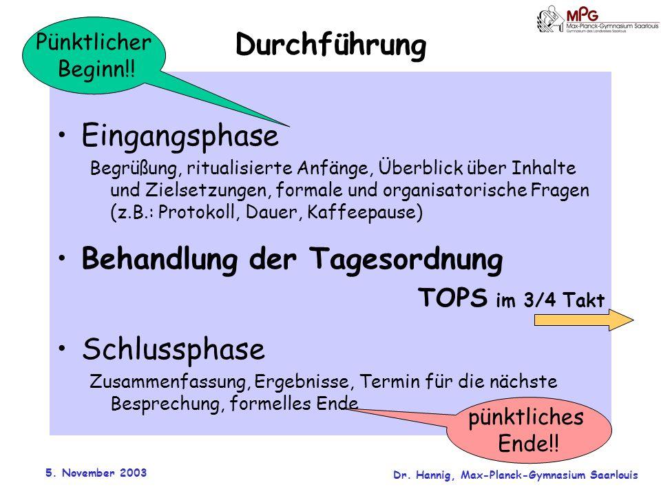 5. November 2003 Dr. Hannig, Max-Planck-Gymnasium Saarlouis Durchführung Eingangsphase Begrüßung, ritualisierte Anfänge, Überblick über Inhalte und Zi
