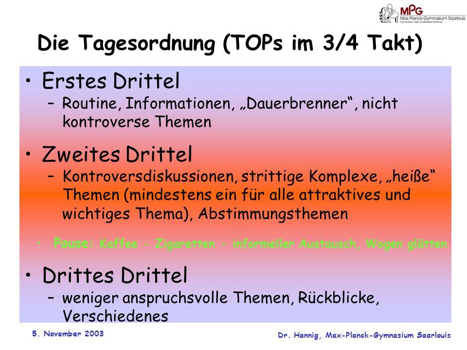5. November 2003 Dr. Hannig, Max-Planck-Gymnasium Saarlouis Die Tagesordnung (TOPs im 3/4 Takt) Erstes Drittel –Routine, Informationen, Dauerbrenner,