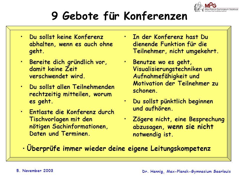 5. November 2003 Dr. Hannig, Max-Planck-Gymnasium Saarlouis 9 Gebote für Konferenzen Du sollst keine Konferenz abhalten, wenn es auch ohne geht. Berei