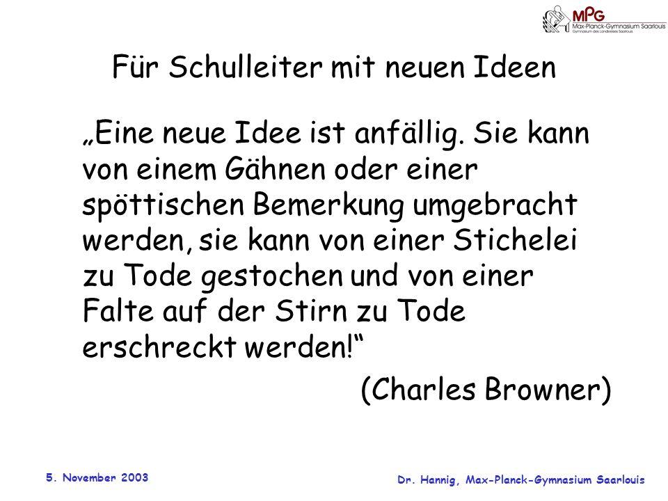 5. November 2003 Dr. Hannig, Max-Planck-Gymnasium Saarlouis Für Schulleiter mit neuen Ideen Eine neue Idee ist anfällig. Sie kann von einem Gähnen ode