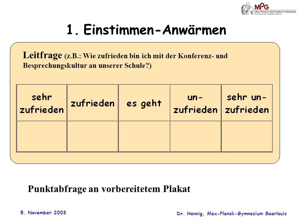 5. November 2003 Dr. Hannig, Max-Planck-Gymnasium Saarlouis 1. Einstimmen-Anwärmen Leitfrage (z.B.: Wie zufrieden bin ich mit der Konferenz- und Bespr