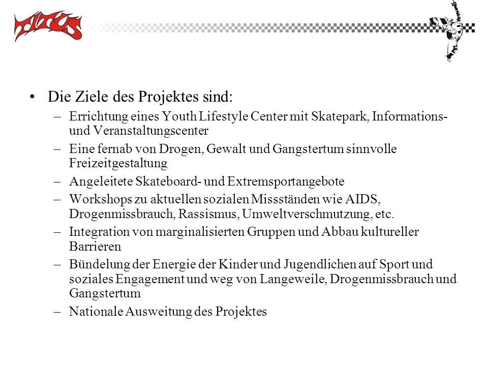 Die Ziele des Projektes sind: –Errichtung eines Youth Lifestyle Center mit Skatepark, Informations- und Veranstaltungscenter –Eine fernab von Drogen,