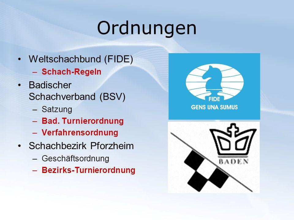 Ordnungen Weltschachbund (FIDE) –Schach-Regeln Badischer Schachverband (BSV) –Satzung –Bad. Turnierordnung –Verfahrensordnung Schachbezirk Pforzheim –
