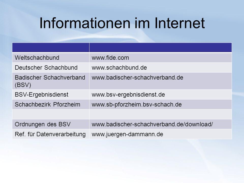 Informationen im Internet Weltschachbundwww.fide.com Deutscher Schachbundwww.schachbund.de Badischer Schachverband (BSV) www.badischer-schachverband.d