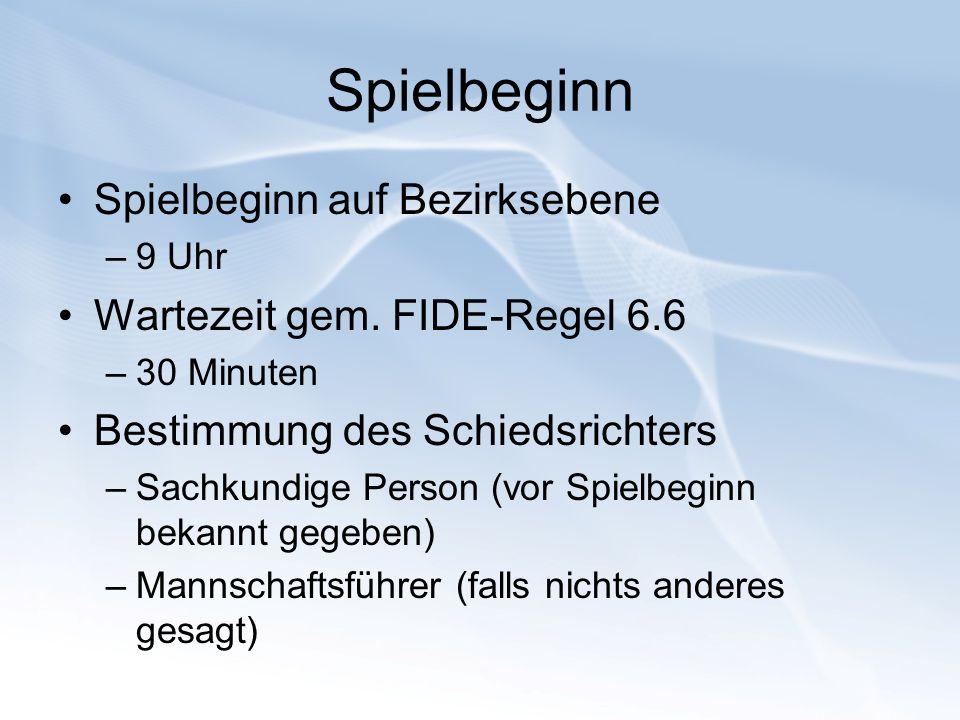 Spielbeginn Spielbeginn auf Bezirksebene –9 Uhr Wartezeit gem. FIDE-Regel 6.6 –30 Minuten Bestimmung des Schiedsrichters –Sachkundige Person (vor Spie