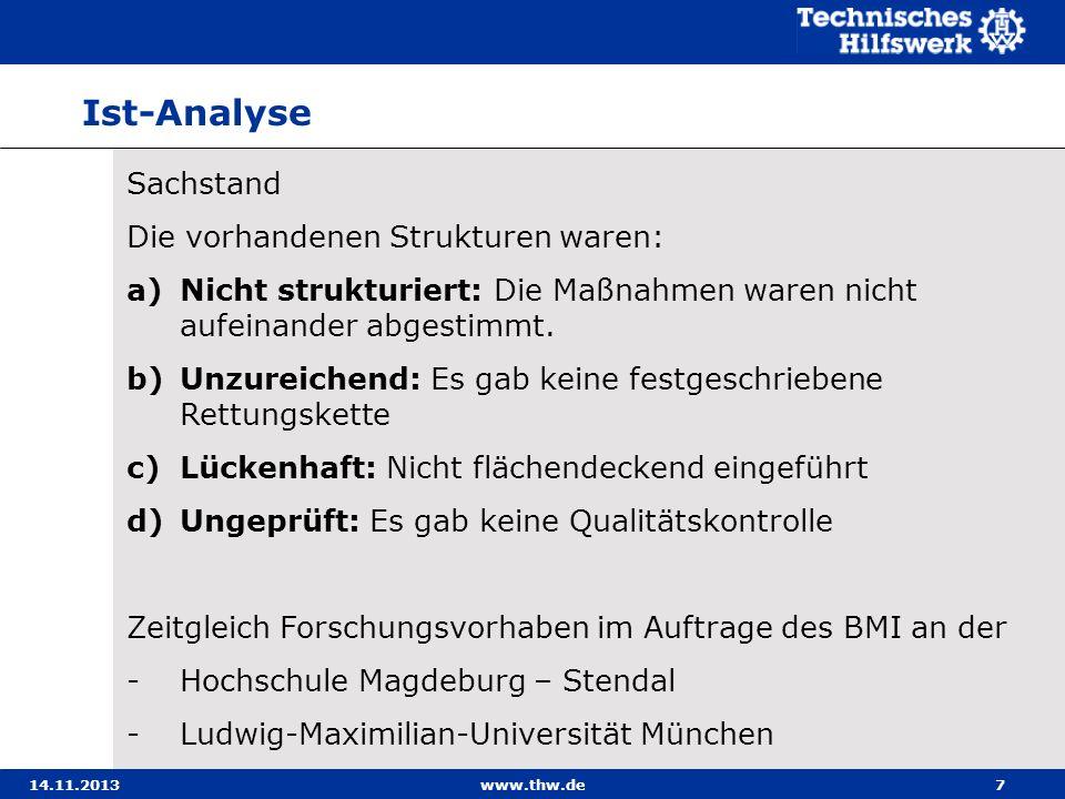 14.11.2013www.thw.de7 Sachstand Die vorhandenen Strukturen waren: a)Nicht strukturiert: Die Maßnahmen waren nicht aufeinander abgestimmt. b)Unzureiche