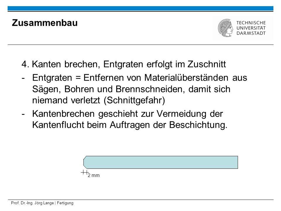Prof. Dr.-Ing. Jörg Lange | Fertigung 4. Kanten brechen, Entgraten erfolgt im Zuschnitt -Entgraten = Entfernen von Materialüberständen aus Sägen, Bohr