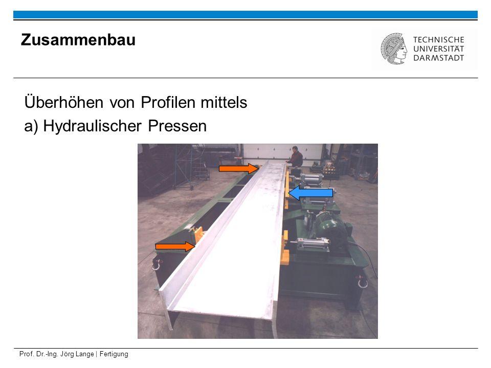 Prof. Dr.-Ing. Jörg Lange | Fertigung Überhöhen von Profilen mittels a) Hydraulischer Pressen Zusammenbau