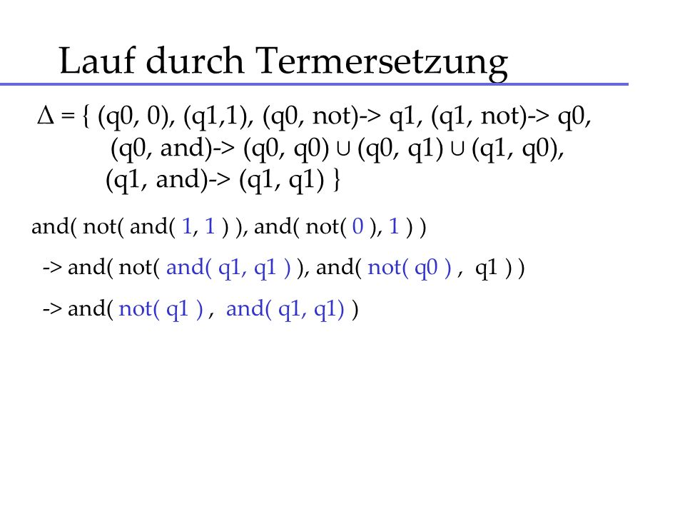 Lauf durch Termersetzung and( not( and( 1, 1 ) ), and( not( 0 ), 1 ) ) -> and( not( and( q1, q1 ) ), and( not( q0 ), q1 ) ) -> and( not( q1 ), and( q1