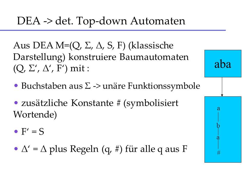 DEA -> det. Top-down Automaten Aus DEA M=(Q, Σ, Δ, S, F) (klassische Darstellung) konstruiere Baumautomaten (Q, Σ, Δ, F) mit : Buchstaben aus Σ -> unä