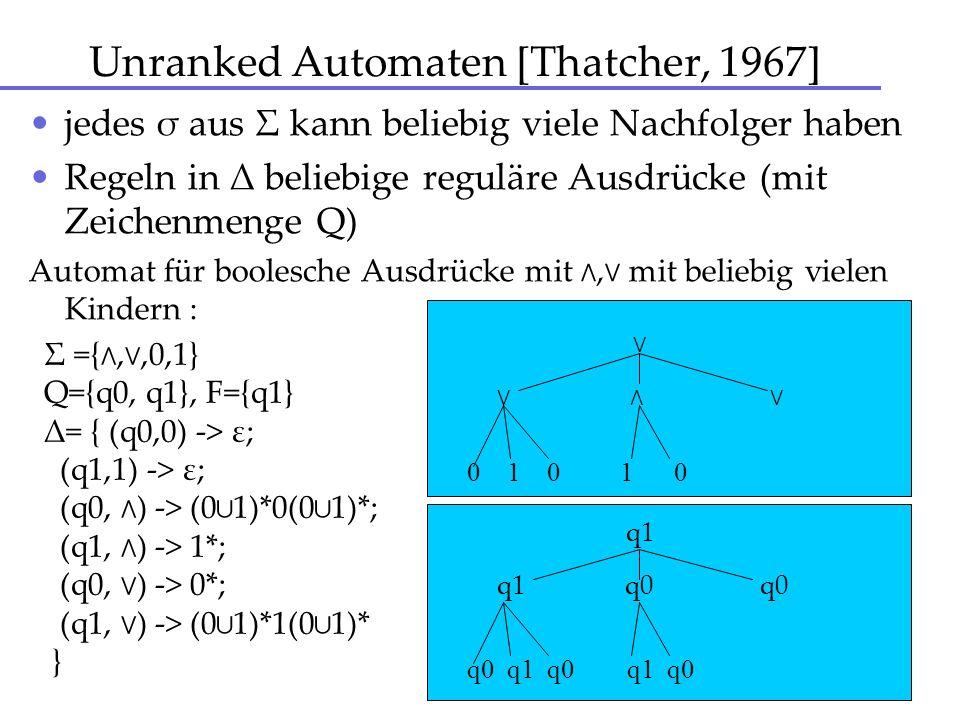 Unranked Automaten [Thatcher, 1967] jedes σ aus Σ kann beliebig viele Nachfolger haben Regeln in Δ beliebige reguläre Ausdrücke (mit Zeichenmenge Q) A