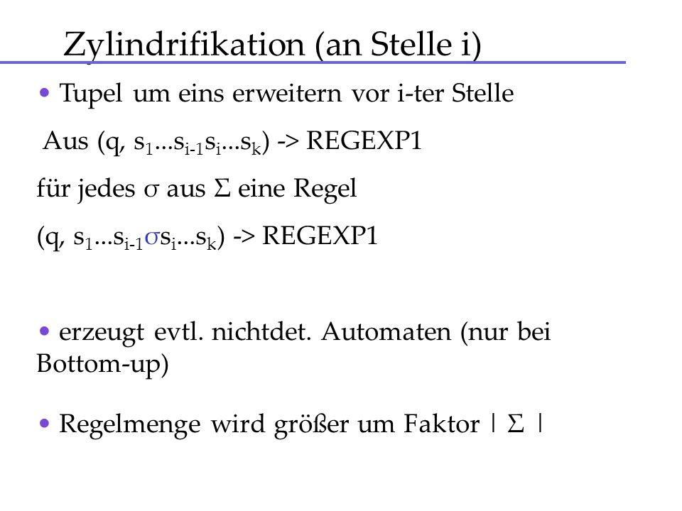 Zylindrifikation (an Stelle i) Tupel um eins erweitern vor i-ter Stelle Aus (q, s 1...s i-1 s i...s k ) -> REGEXP1 für jedes σ aus Σ eine Regel (q, s