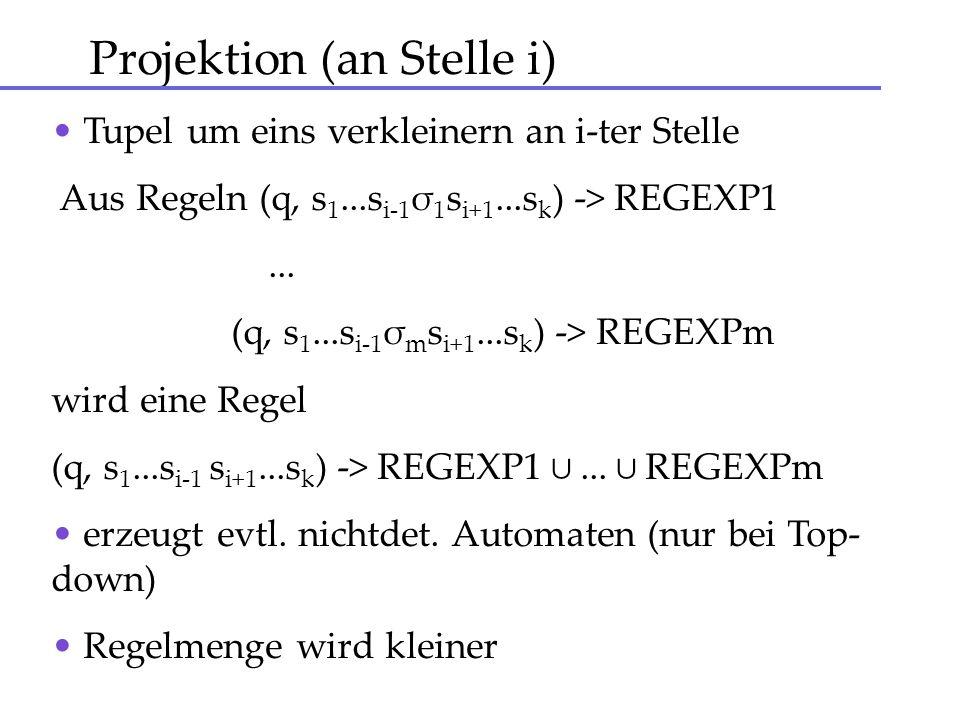 Projektion (an Stelle i) Tupel um eins verkleinern an i-ter Stelle Aus Regeln (q, s 1...s i-1 σ 1 s i+1...s k ) -> REGEXP1... (q, s 1...s i-1 σ m s i+