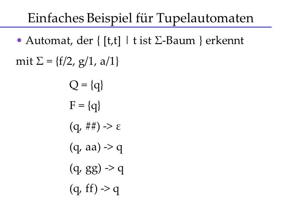 Einfaches Beispiel für Tupelautomaten Automat, der { [t,t] | t ist Σ-Baum } erkennt mit Σ = {f/2, g/1, a/1} Q = {q} F = {q} (q, ##) -> ε (q, aa) -> q
