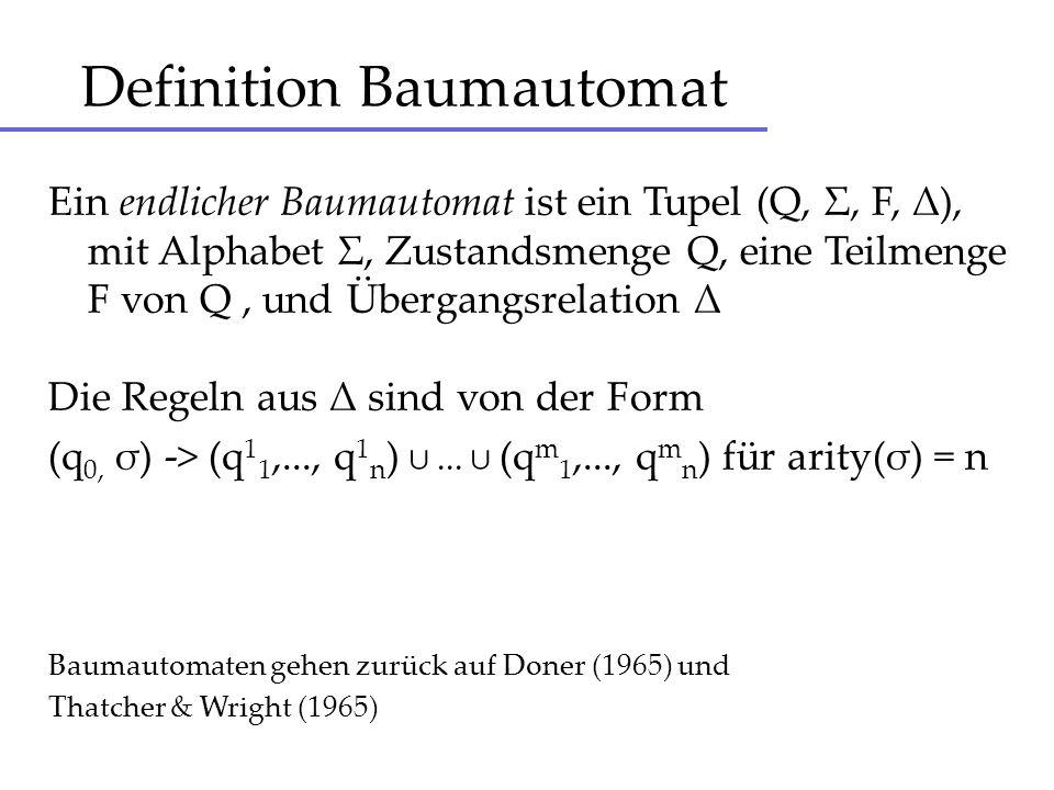 Lauf eines Automaten (Q, Σ, F, Δ) Lauf r auf Baum t ist Funktion Pos(t) -> Q, so dass für alle p aus Pos(t) gilt : Wenn n = arity( t(p) ), r(p) = q 0, r(pi) = q i ( i = 1,...,n ), dann (q 0, t(p) ) -> (q 1,...,q n ) matcht Regel in Δ.